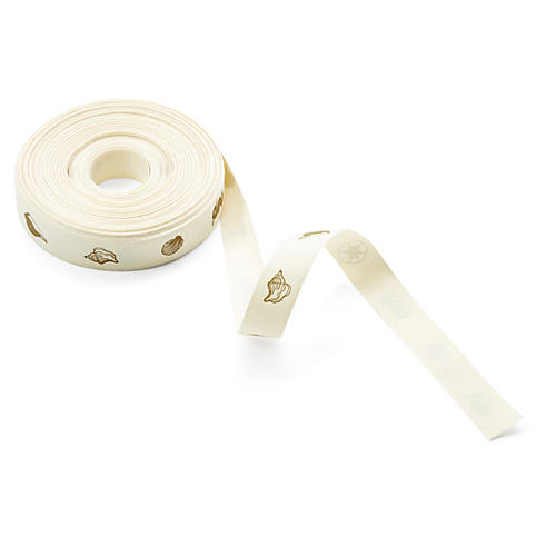 "3/4"" Seashell Ribbon, Ivory/Gold"