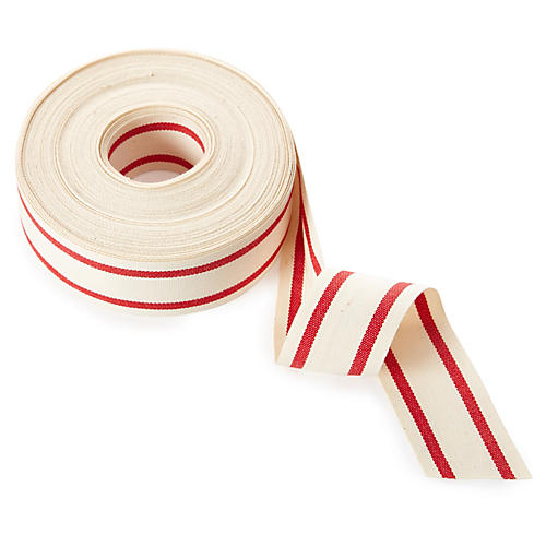 "1.5"" Organic Blend Stripe Ribbon, Red"