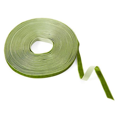 """1/4"""" Velvet Woven Ribbon, Olive"""