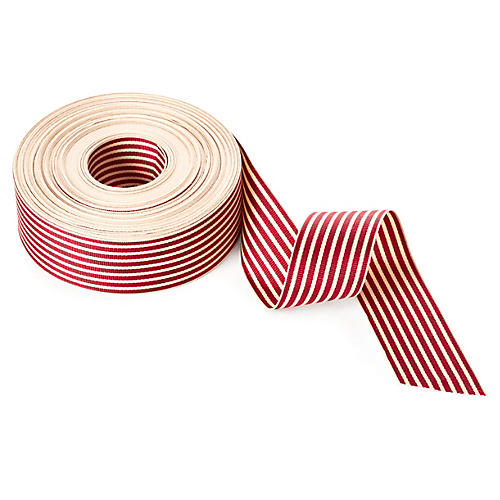"1.5"" Grosgrain Stripe Ribbon, Burg/Ivory"