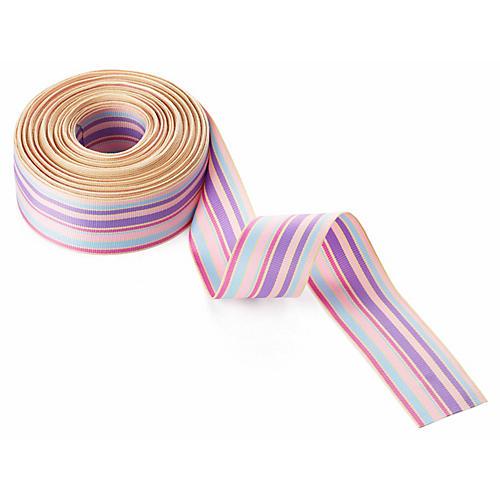 Grosgrain Stripes Ribbon, Lavender/Pink