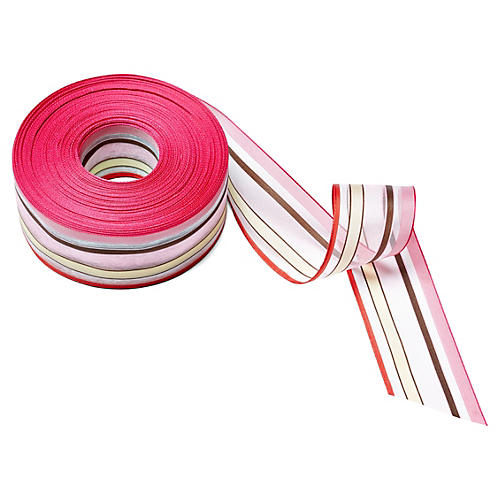 "1.5"" Sheer/Stripes Ribbon, Pink/Ivory"