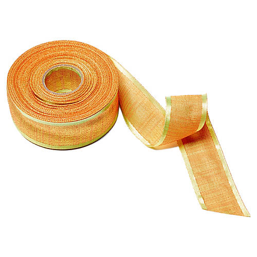 "1.5"" Textured Satin Ribbon, Lime/Orange"
