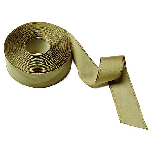 "1.5"" Solid Stitched Edge Ribbon, Olive"