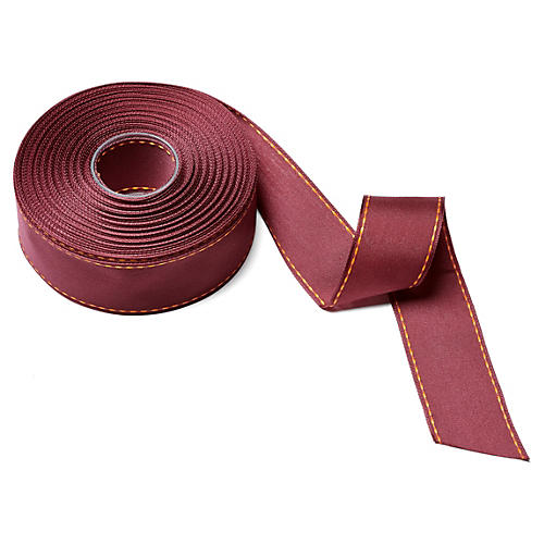"15"" Stitched Edge Ribbon, Burgundy"