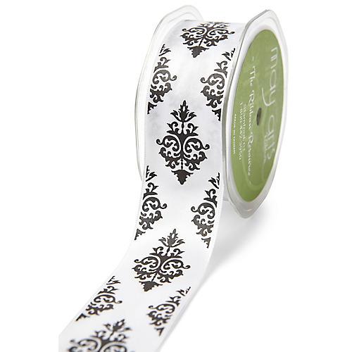 Damask Ribbon, Gray/White