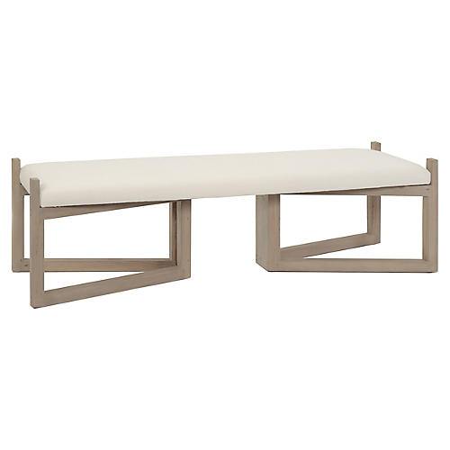 "Bower 63"" Bench, Ivory Linen"