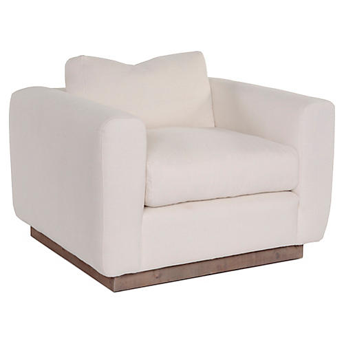 Furh Club Chair, Ivory Linen