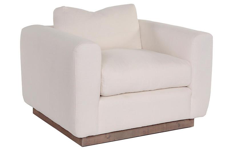 Furh Club Chair, Ivory Linen