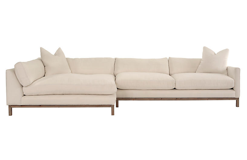 Dae Left-Facing Sectional, Ivory Linen