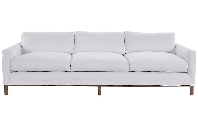 Dufton Sofa, White Linen