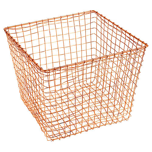 "14"" Bosworth Large Storage Basket, Copper"