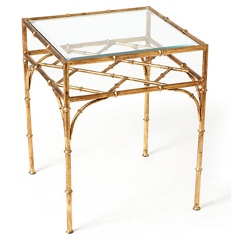 Woodmont Glass-Top Side Table, Gold