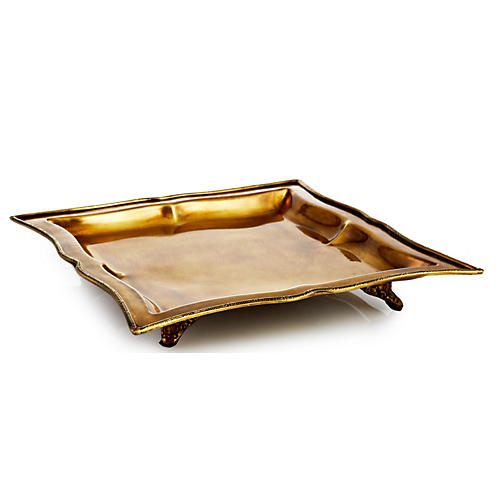 "11"" Square Footed Tray, Brass"