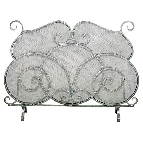 "36"" Pewter Mesh Fire Screen, Pewter"