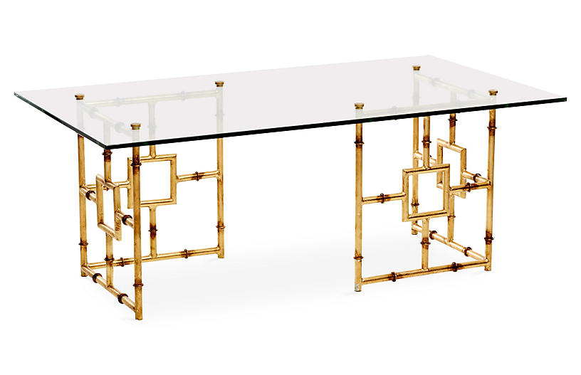 Bamboo Float Glass Coffee Table, Gold