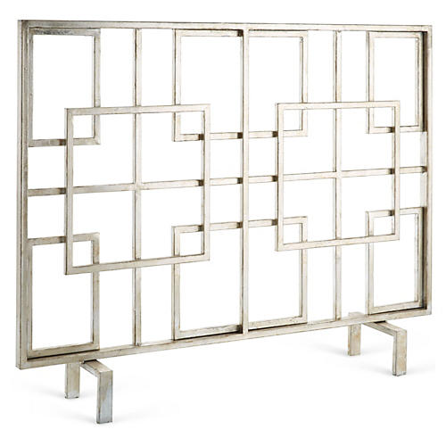 Silver Squares Fire Screen