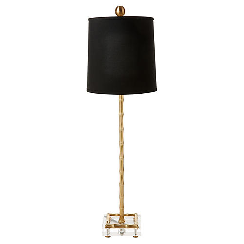 Pekoe Bamboo Table Lamp, Brass