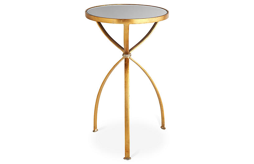 London Mirrored Side Table, Gold