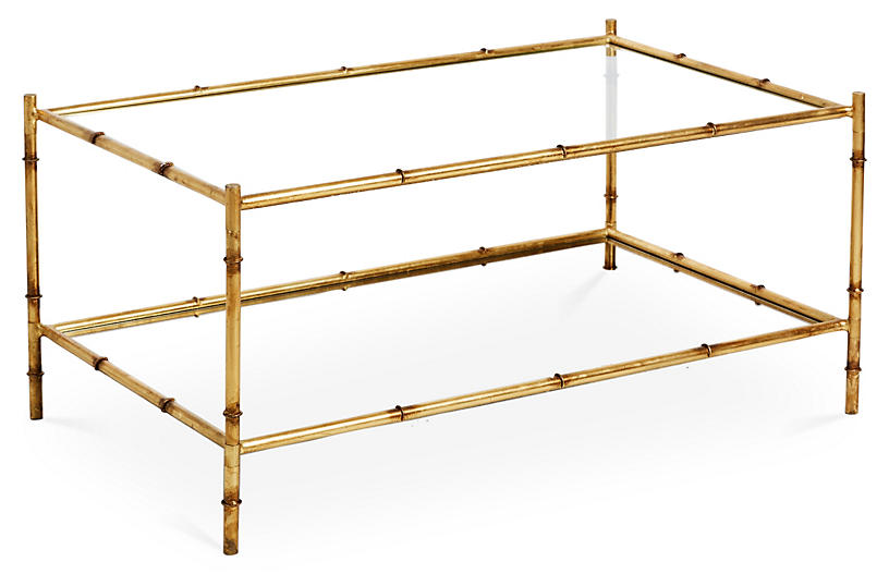 Two-Tier Coffee Table, Antiqued Gold