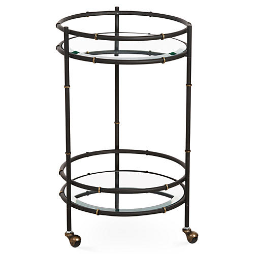 Bamboo Mirrored Bar Cart, Black/Gold