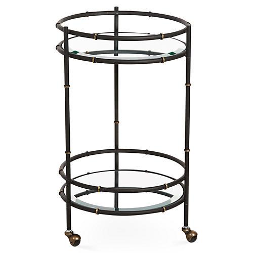 Bamboo Mirrored Bar Cart, Black/Gold