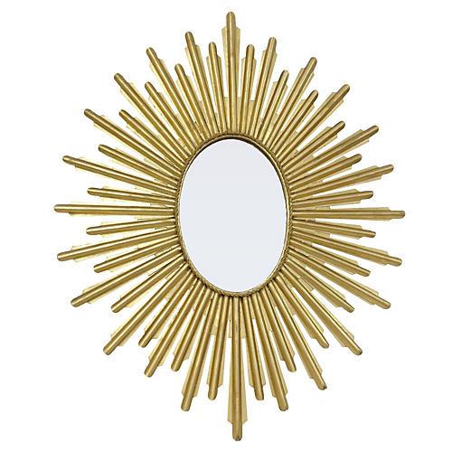 Oval Sunburst Mirror, Gold