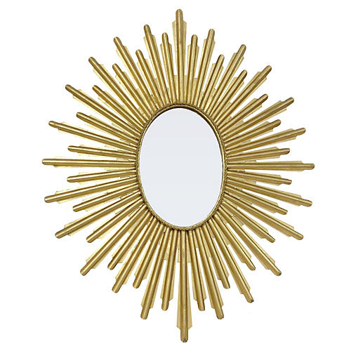 Oval Sunburst Mirror, Gold