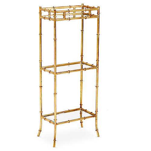 3-Tier Bamboo-Style Side Table, Gold