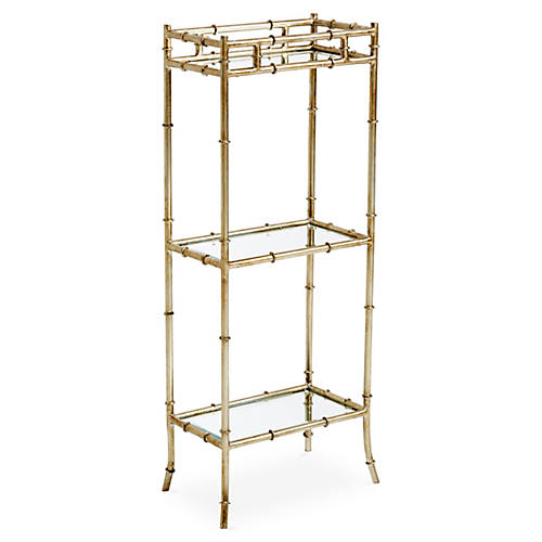3-Tier Bamboo-Style Side Table, Silver