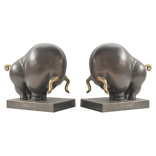 S/2 Bull Bookends, Bronze
