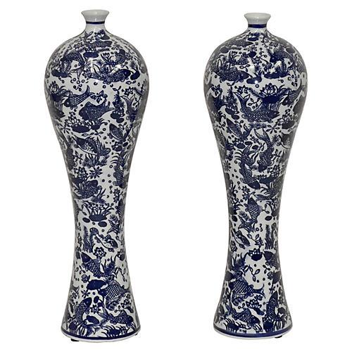 S/2 Orson Vases, Blue/White