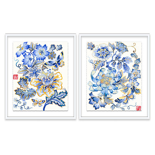 Fantasy Floral Diptych Painting
