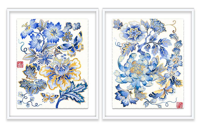 Gabby Malpas, Fantasy Floral Diptych