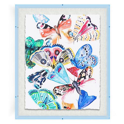 Butterflies I, Blue Acrylic Box