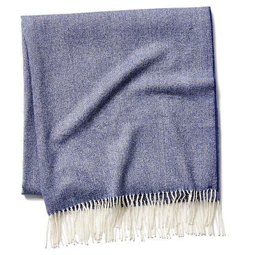 Madison Herringbone Throw, Navy