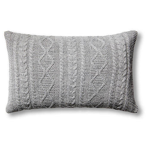 Howard 12x20 Cable Pillow, Gray