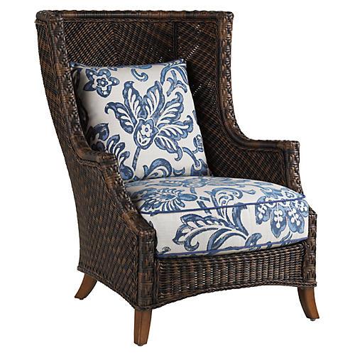 Lanai Wing Chair, Blue/White