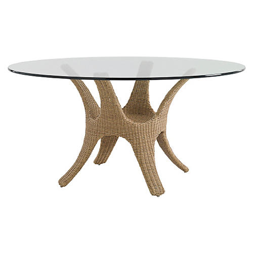 """Aviano Round 60"""" Glass-Top Dining Table"""