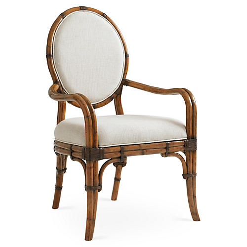 Gulfstream Oval Armchair, Ivory/Gold