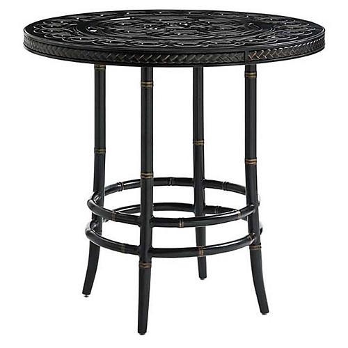 Marimba Outdoor Bistro Table, Gold/Black