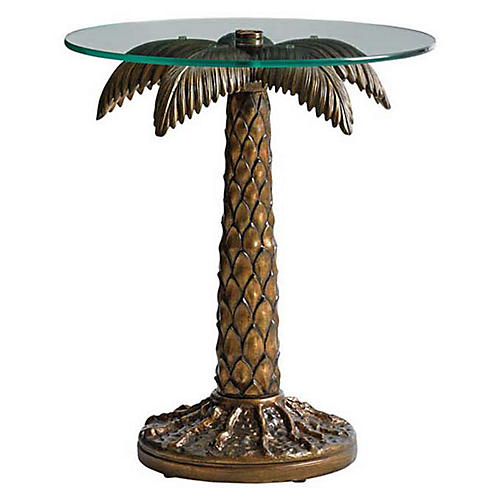 Alfresco Palm Side Table, Burnished Bronze