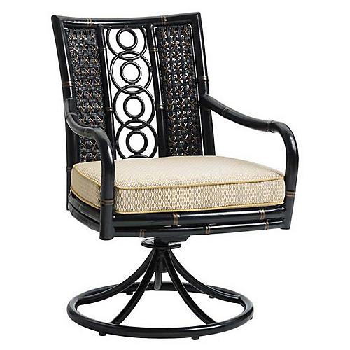 Marimba Swivel Armchair, Gold Sunbrella