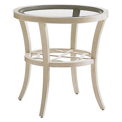 Misty Round Glass Side Table, Umber