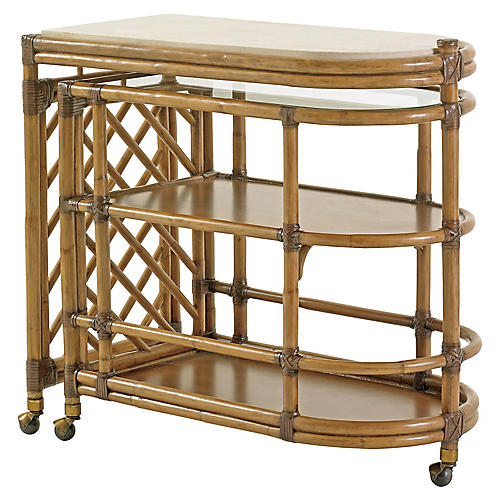 Cable Beach Bar Cart, Warm Umber