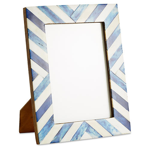 Chevron Bone Frame, 5x7, Blue