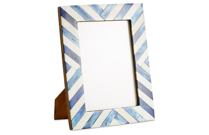 Chevron Bone Frame, 5x7, Blue