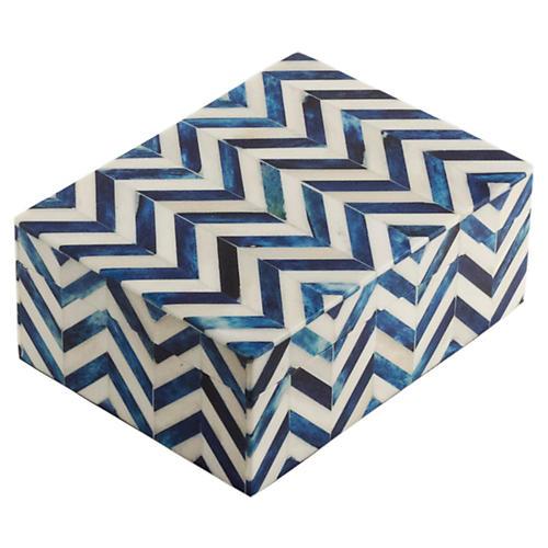 """6"""" Chevron Bone-Tile Box, Blue"""