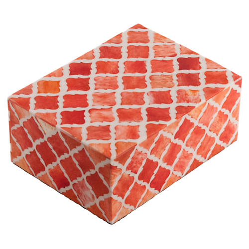"8"" Moroccan Tile, Coral"
