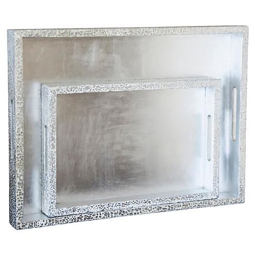S/2 Parker Rectangular Trays, Silver